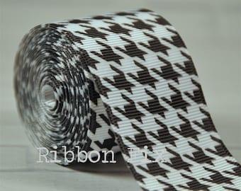 "1.5"" White & Black Houndstooth Print Grosgrain Ribbon - Alabama Football - Checkers - Plaid - Gift Wrap Bow - Wedding Favor - Baby Shower"