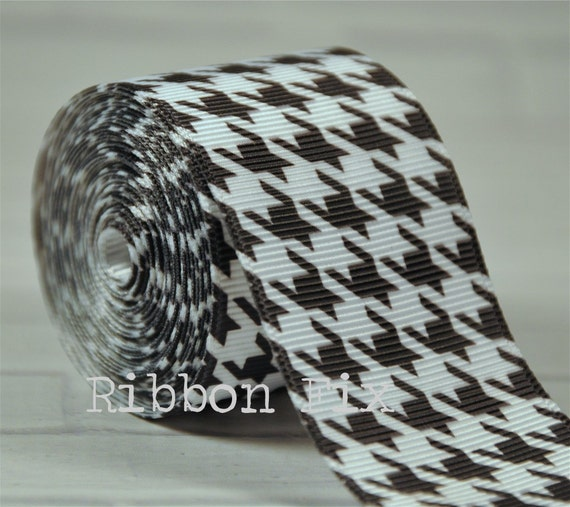 78 Mini White Houndstooth on Tropic Grosgrain Ribbon