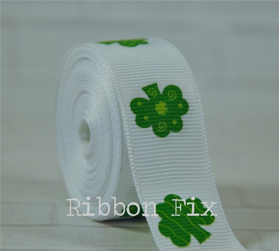 5 Yards St Patrick/'s Day Green White Shamrock Clover Stitched Grosgrain Ribbon