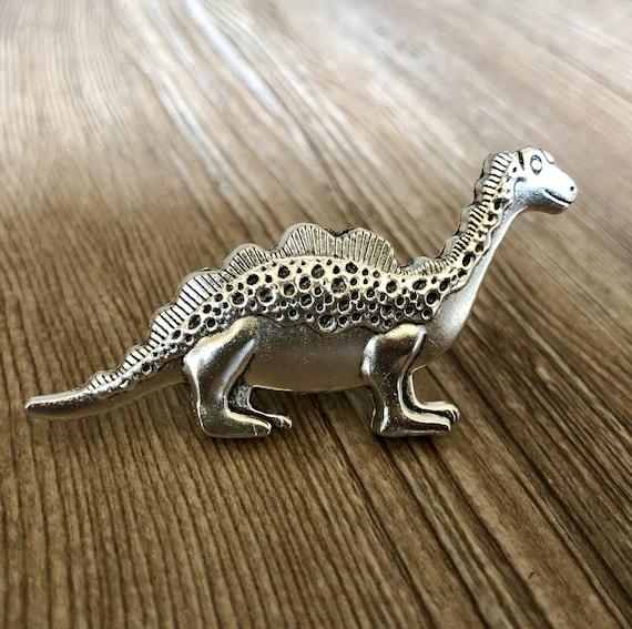 Home Bedroom Decor 1 x Silver Dinosaur Brontosaurus Metal Door Knob