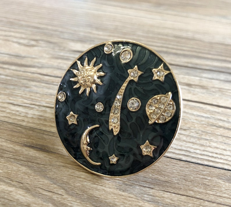 Enamel Moon And Stars Drawer Knobs / Starry Sky Cabinet