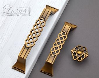 Copper Cabinet Handle Pull Knob Antique Bronze  Knobs Pulls Handles / Kitchen Cabinet Handle Pull Furniture Hardware