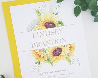 Rustic Wedding Invitation, Sunflower Wedding Invitation, Country Wedding Invitation, Country Wedding, Rustic Sunflower Wedding Invitation