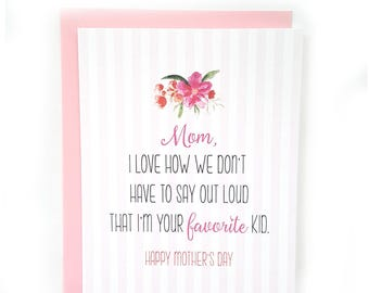 Funny Mother's Day Card // Mother's Day // Mom Birthday Card  // Happy Mother's Day // Greeting Card // Flowers