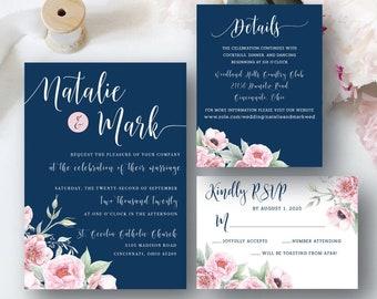 Navy Wedding Invitation, Navy and Blush Wedding Invitation, Floral Invitation for Wedding, Blush Wedding Theme