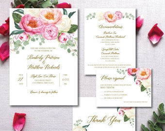 Blush Pink Wedding Invitation, Pink Wedding Invitation, Blush Wedding Invitation, Wedding Invitation Template, Printable, Editable, Pink