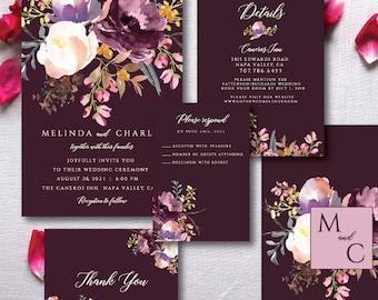 Burgundy Wedding Invitation, Burgundy Wedding, Editable Wedding Invitation, Invitation Template, Fall Wedding, Winter Wedding