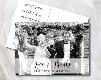 Wedding Thank You Card, Wedding Photo Thank You Card, Love and Thanks, Wedding Card, Photo Template, Thank You, Printable Thank You