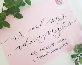 Wedding Envelope Calligraphy, Calligraphy Envelope, Hand Addressed Envelope, Envelope Addressing, Wedding Calligraphy