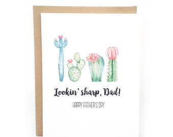 Funny Father's Day Card // Cactus Card // Father's Day // Dad Birthday Card  // Happy Father's Day // Greeting Card // Lookin Sharp