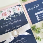 Navy Wedding Invitation Set, Floral Wedding Suite, #NAV01, Navy Blue and Blush Wedding Invitation
