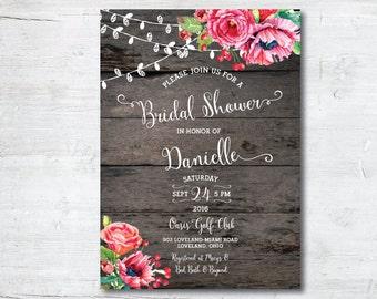 Rustic bridal shower invitation Etsy