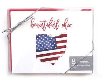 Ohio Notecards // Ohio // United States // Note Cards // Boxed Notecards // Blank Notecards // Thank You Cards // Stationery // Flag