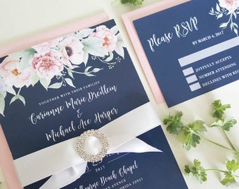 Navy Wedding Invitation Set, Floral Wedding Suite, #NAV01, Navy Blue and Blush Wedding Invitation