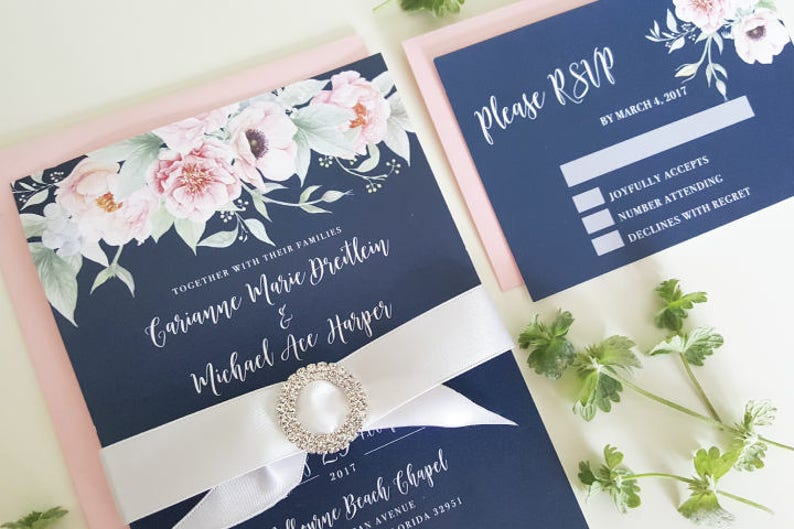 Navy Wedding Invitation Set Floral Wedding Suite NAV01 image 0