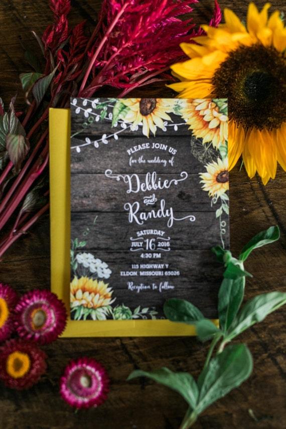 Rustic Sunflower Wedding Invitation Rustic Wedding Country | Etsy