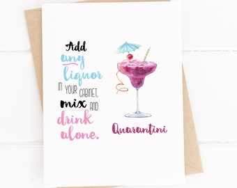 Funny Quarantine Cards, Covid Cards, Social Distancing, Funny Drink Cards, Quarantini, Greeting Cards