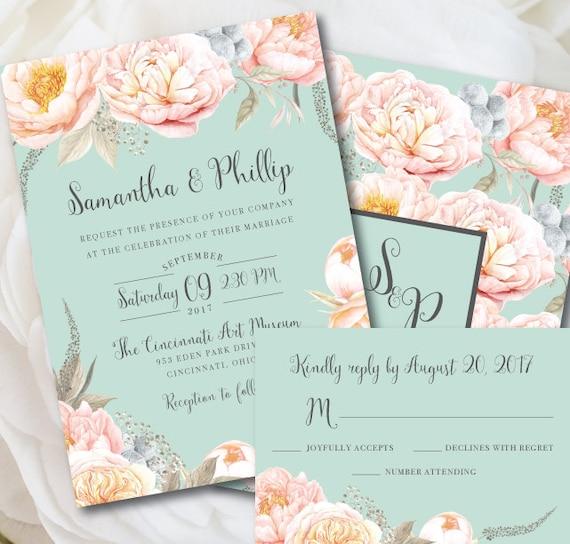 Mint Wedding Invitation Mint Wedding Mint And Peach Wedding Etsy