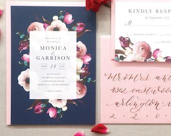 Navy Wedding Invitation with Blush Pink Flowers, Navy and Pink Wedding Invitation, Printed Wedding Invitation