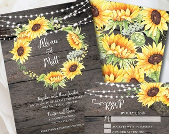 Rustic Wedding Invitation Template, Sunflower Invitation, Country Wedding, Invitation Kit, Wood Invitation