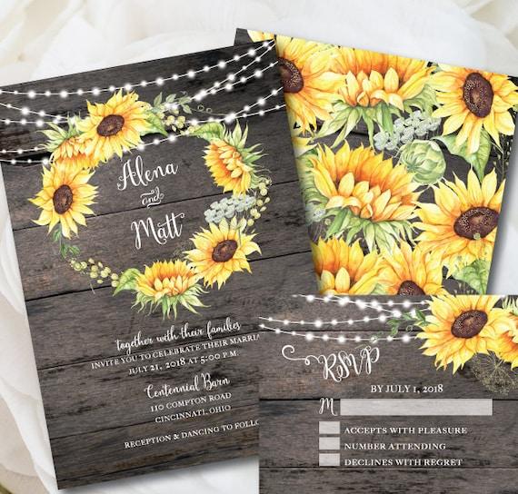 rustic wedding invitation template sunflower invitation etsy