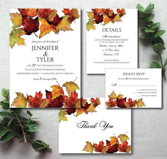 Elegant Fall Color Wedding Inviation: Elegant Fall Leaves Wedding Invitation Rustic Wedding