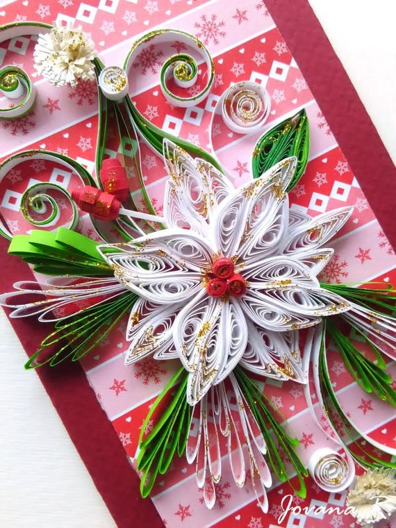handmade christmas quilling card quilled card 3d card red etsy