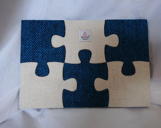 Harris Tweed six piece wooden felt backed jigsaw coaster set - gift boxed