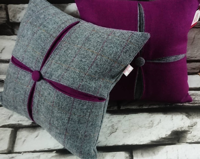 Harris Tweed cushion with complimentary inserts and button detailing. Variations in colour, pattern and inserts available - please choose