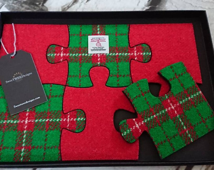 SALE ** Harris Tweed red and green six piece wooden felt backed jigsaw coaster set - gift boxed