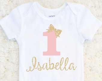 00d2f003ac7 First Birthday Outfit Girl - First Birthday Glitter Bodysuit - Baby Girl - Sparkle  Birthday Outfit - 1st Birthday Personalized One Piece