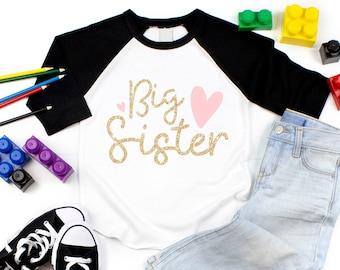 db74f6ef7 Big Sister Shirt - New Baby Announcement Shirt - Big Sister Tshirt -  Pregnancy Gift - New Baby Gift - Little Sister - Sibling Shirt Sister