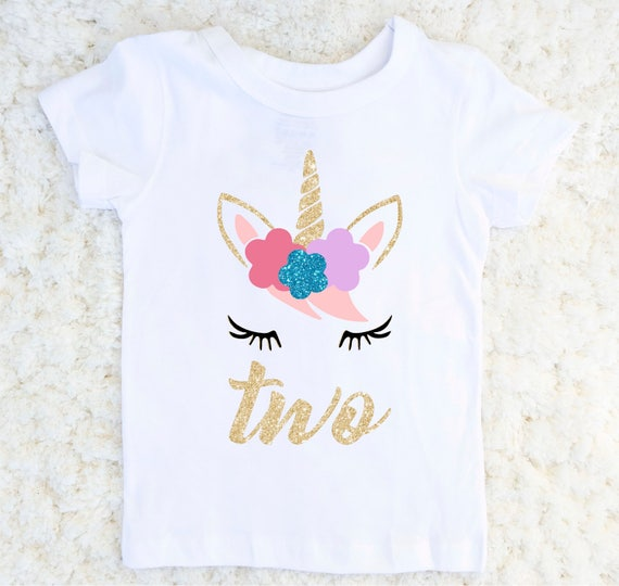 e514c6408 Unicorn Birthday Shirt Girl's Unicorn Second Birthday | Etsy