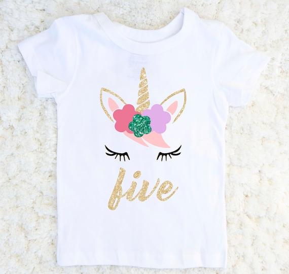 Unicorn Birthday Shirt Girls Fifth
