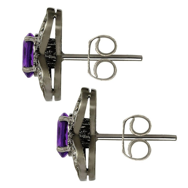 Jeweltique Designs Black Rhodium Over 925 Sterling Silver 1.71 Carat Oval-cut Amethyst and Diamond Stud Earrings