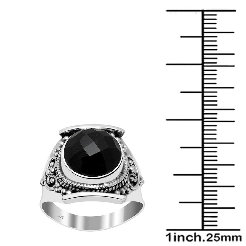 Round Gemstone Mom Gift. Birthstone Jewelry Turquoise Women Rings Labradorite Sterling Silver Black Onyx Malachite Ruby Smoky Quartz