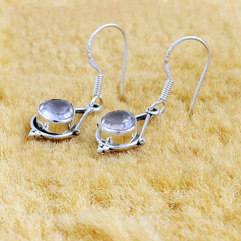 2.68 Carat Rose Quartz Heart Gemstone 925 Sterling Silver Dangle Earrings Women