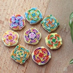 Set of 8 tiles Oriental ornament Polymer clay magnets Multicolor art Moroccan tales Square Magnets Bohemian decor