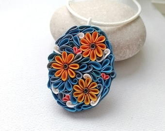 Polymer clay flowers necklace, orange blue flowers jewelry, Mother's day gift, flower lover, patterns necklace, fantasy floral necklace