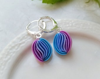 Purple blue earrings Mini fantasy earrings Polymer clay little earrings Polymer clay jewelry