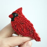 Red Cardinal brooch Polymer clay bird in red shades with black Bird ornament Polymer clay Bird Red feathers Animal brooch Bird magnets