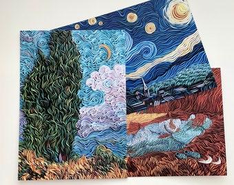 Set of 3 PRINTS of my original clay artworks Hand signed Van Gogh art Landscape postcards Postcrossing art Inspiring notecards