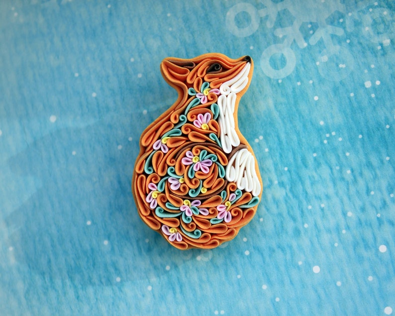 Fox pin brooch with flowers Polymer clay fox jewelry Curled up image 0