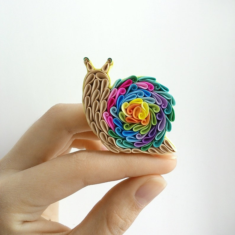 Rainbow Snail brooch Polymer clay Snail jewelry Snail lover image 0