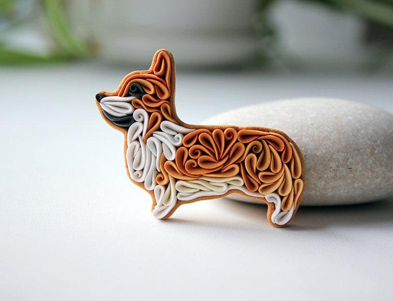 Corgi pin brooch Polymer clay Corgi dog ornament Corgi magnets image 0