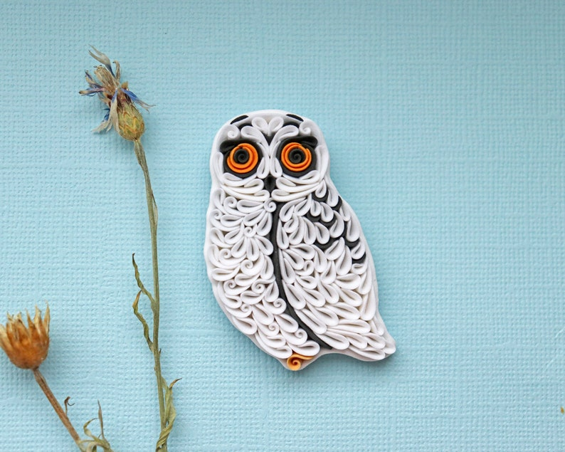 Snowy owl figure Owl necklace Owl pin brooch Polymer clay image 0