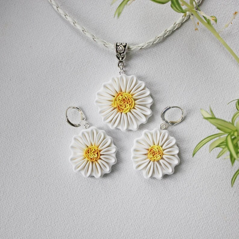 Chamomile earrings and necklace Polymer clay chamomile jewelry image 0