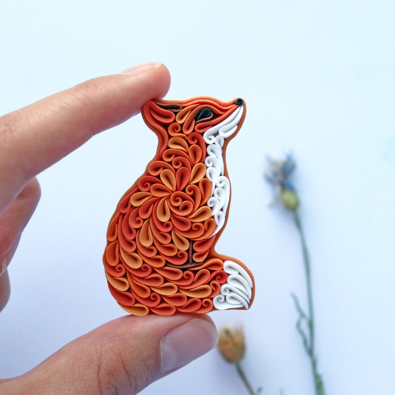 Fox jewelry Fox pin brooch Woodland animals Cute fox gift image 0