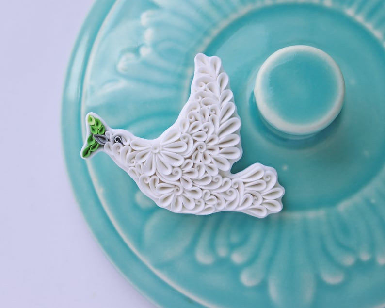 White dove bird pin Dove brooch Polymer clay jewelry Clay image 0