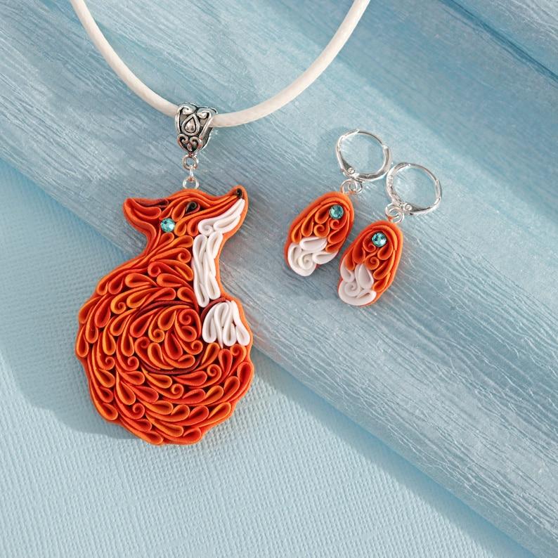 Fox jewelry set Cute fox gift Polymer clay jewelry Fox image 0